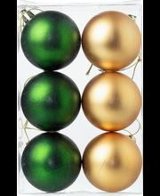 jõulukuul 6 cm 6tk, kuldne/roheline matt
