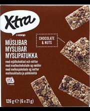 X-tra müslibatoonid piimašokolaadi ja pähklitega 6 x 21 g