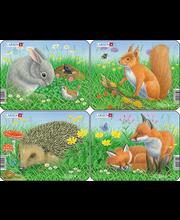 Puzzle Jänes,orav,siil,rebane Z12
