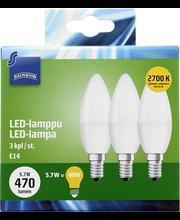 LED-küünal E14 5,7W 2700K 470LM, 3 tk