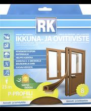 RK akna- ja uksetihend, P-profiil, EPDM, 25 m, pruun