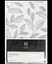 Laualinik lehdet must/ valge 140x250 cm, 100% puuvill
