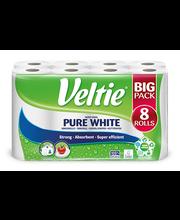 Majapidamispaber Pure White 8 Rulli, 2-kihiline