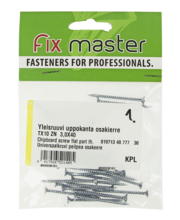 Fixmaster universaalkruvi, peitpea, TX10 ZN, 3,0 x 40 mm, 30 tk