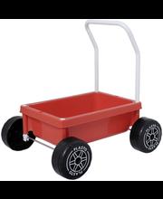 Plasto kõnnikäru, vaiksed rattad, punane