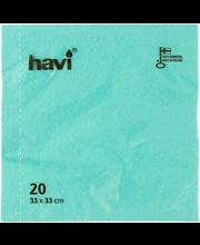 Salvrätikud 33 cm, 20tk Türkiisroheline