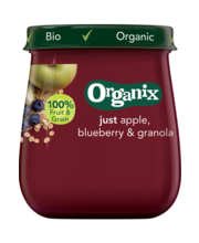 Organix õuna-mustika-müsli püree 120 g, alates 6-elukuust
