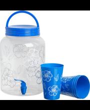 joogikanister kraaniga+ 4 topsi, plast