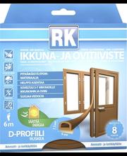 RK akna- ja uksetihend, D-profiil, EPDM, 6 m, pruun
