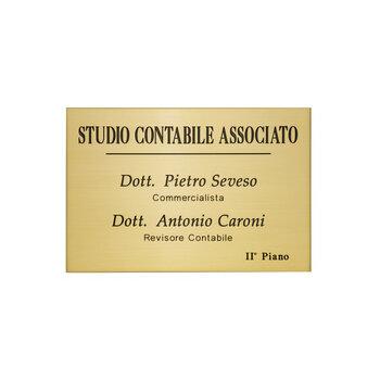 Es. 212 Targa Professionale Incisa & Smaltata Ottone Satinato 30 cm x 20 cm