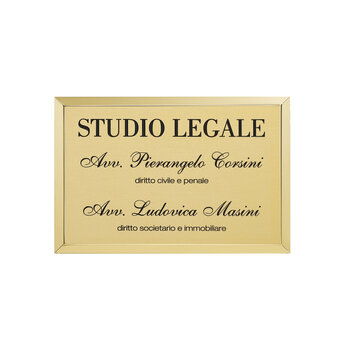 Es. 215 Targa Professionale Scatolata 30 cm x 20 cm Ottone Satinato & Fianchi Lucidi