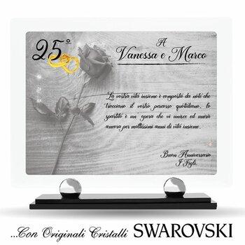 Targa in Plexiglass con Cristalli SWAROVSKI....Amore, Amicizia & Anniversari