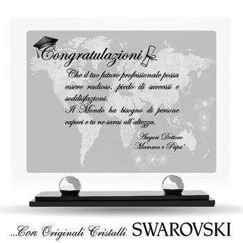 """Targa in Plexiglass con Cristalli SWAROVSKI....Laurea & Dottorati """"Congratulazioni"""""""