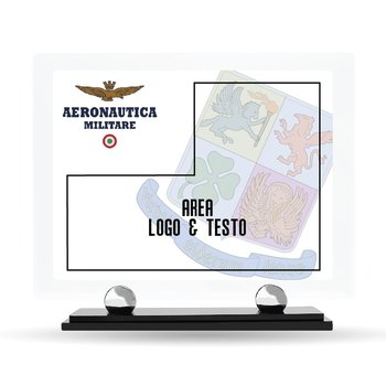 """Targa Plexiglass Design """"Aeronautica Militare"""" 23 cm x 20 cm"""
