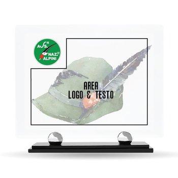 """Targa Plexiglass Design """"Associazione Nazionale Alpini"""" 23 cm x 20 cm"""