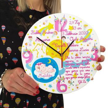 Orologio da Parete Personalizzabile Dedicato alle Neonate