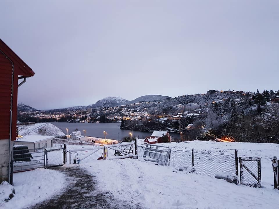 Fra tunet er det flott utsikt innover Fyllingsdalen