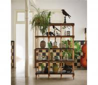HKLiving stokkenkast roomdivider 180x122x46 cm hout Metaal