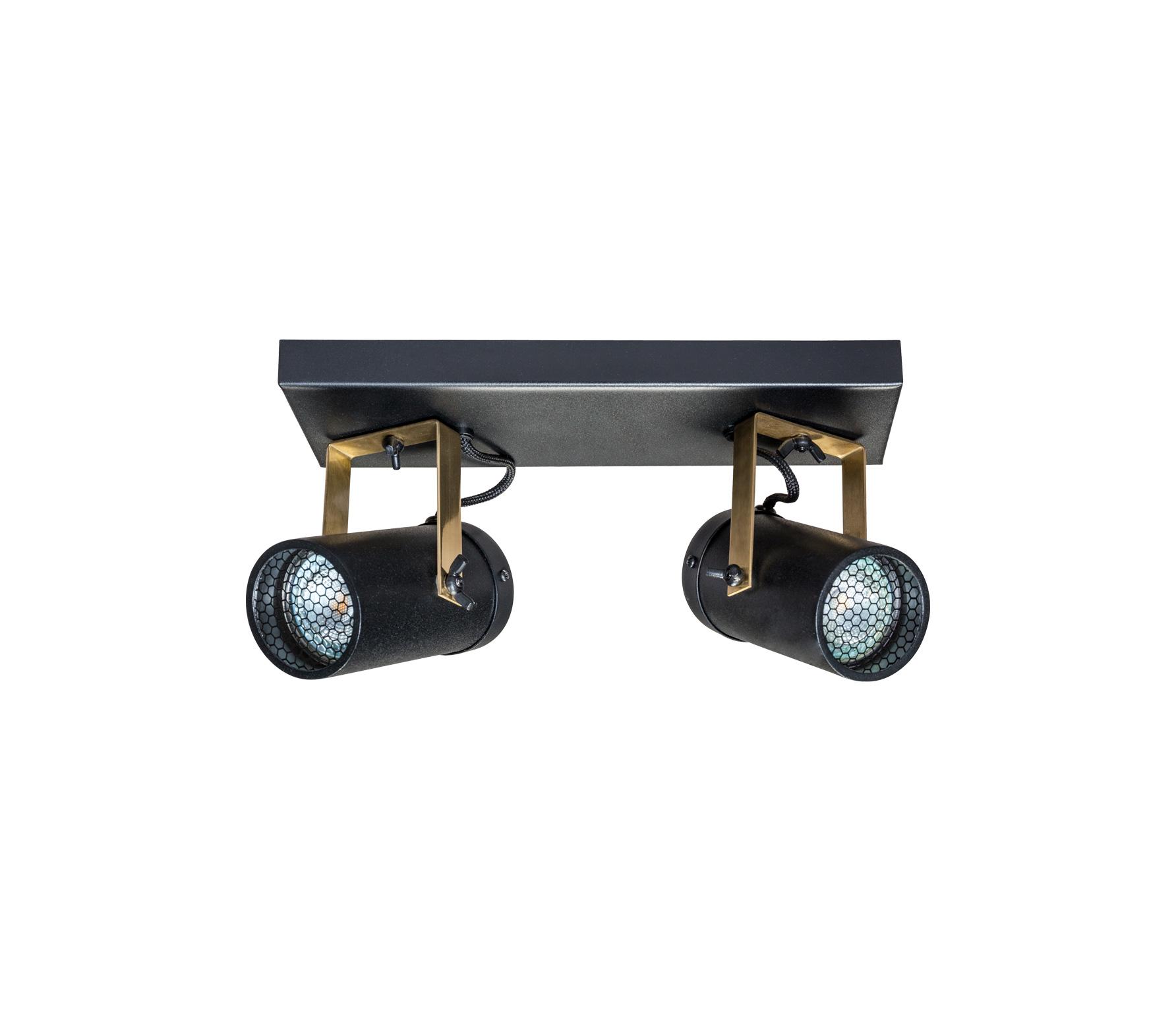 Dutchbone Scope 2 spots plafondlamp staal zwart Zwart