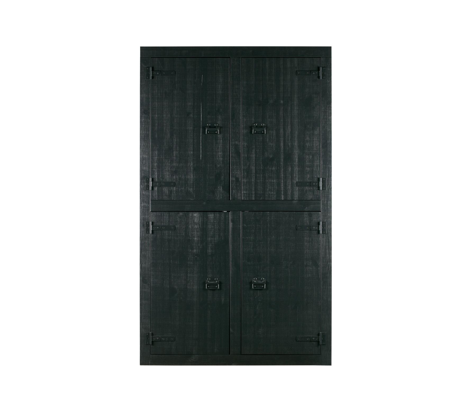 vtwonen Bunk 4-deurs kast mat zwart bezaagd grenen
