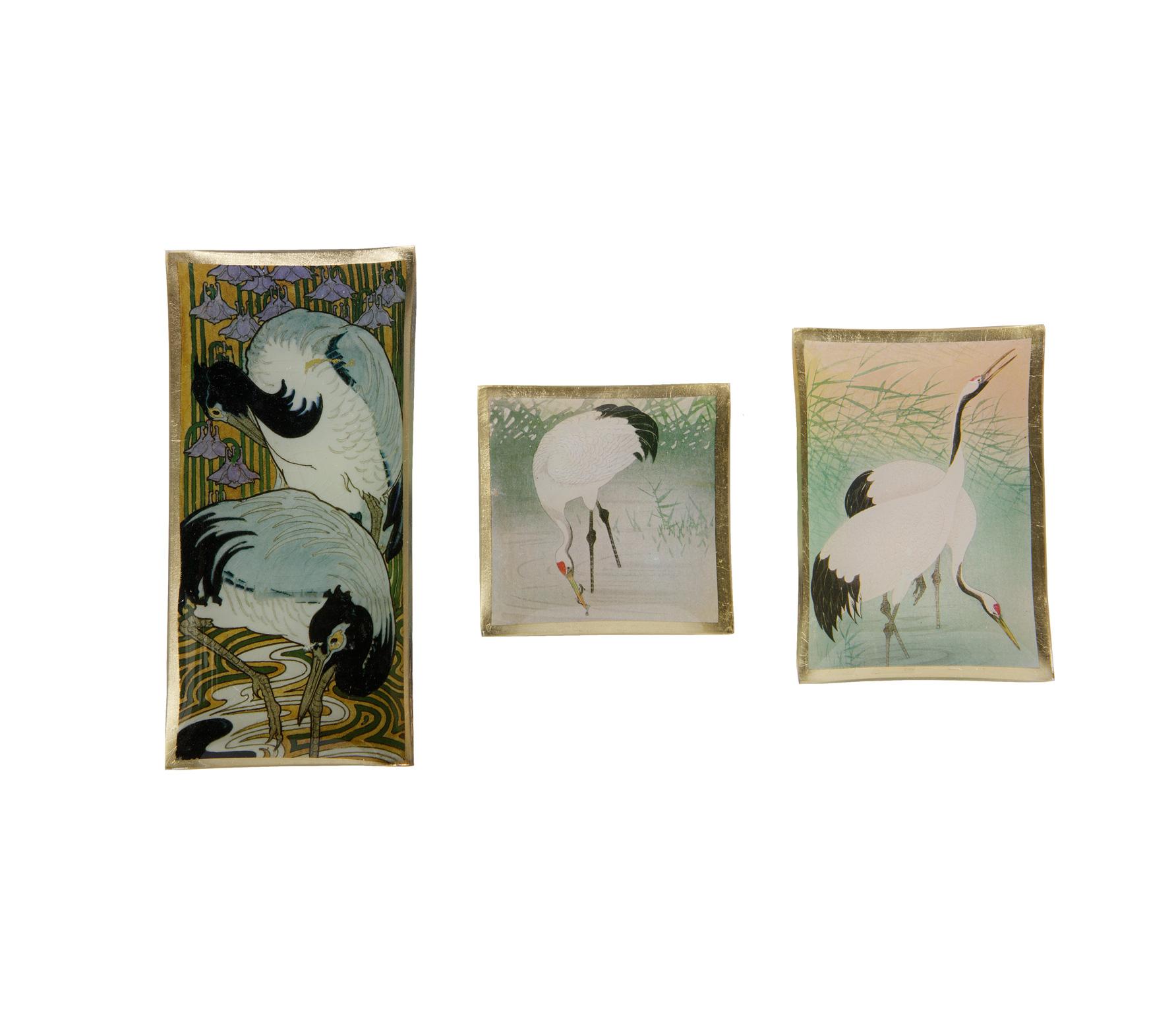 BePureHome set van 3 schaaltjes met kraanvogels glas