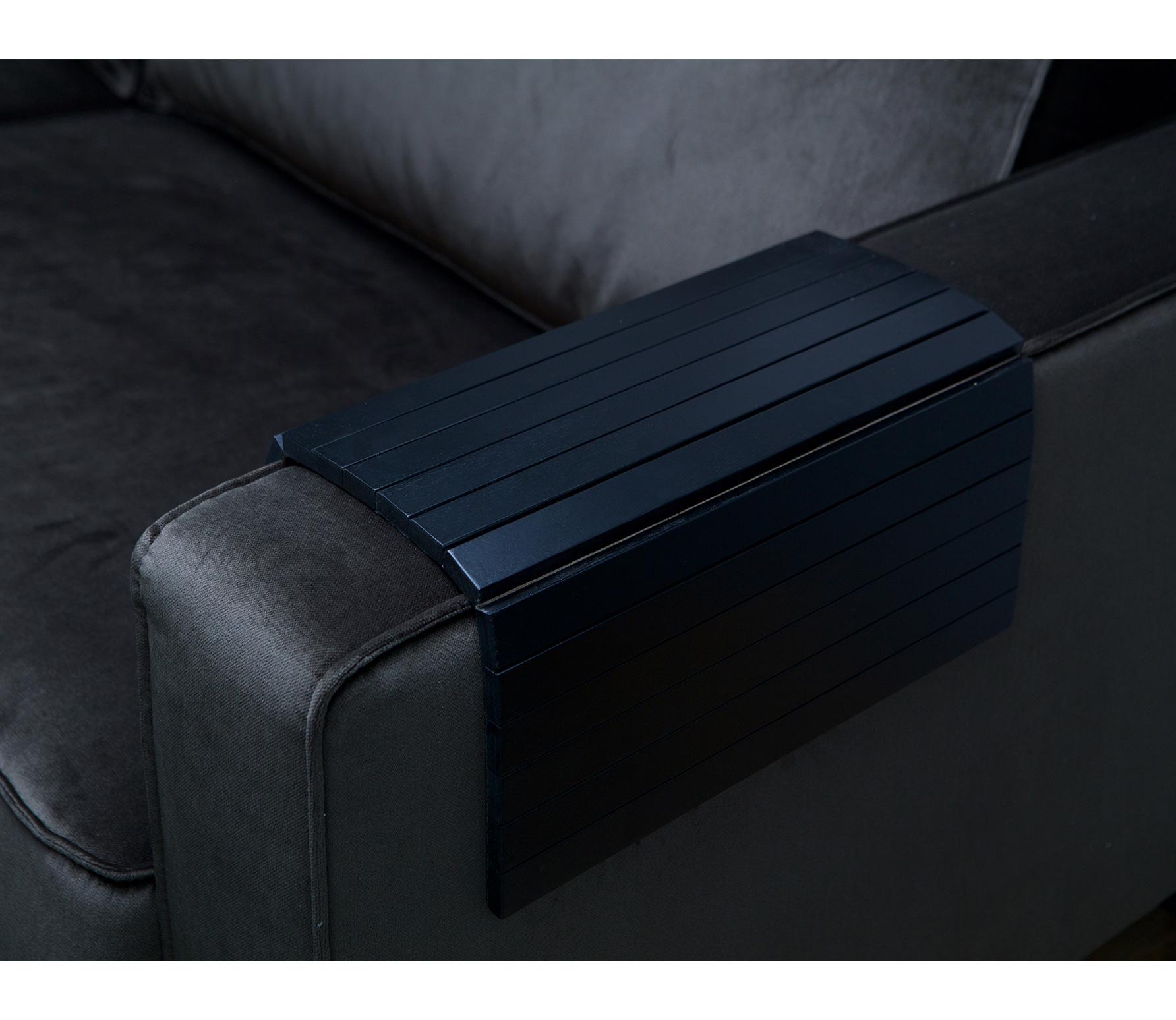 WOOOD flexibele dienblad armleuning zwart Extra groot