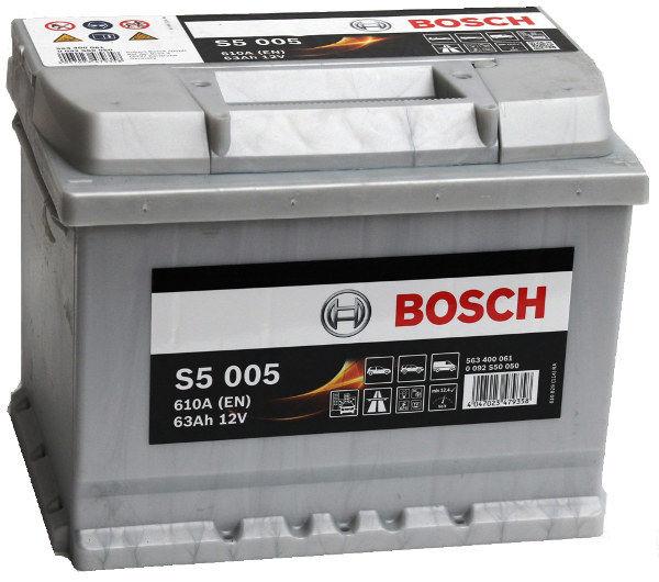 s5 005 bosch car battery 12v 63ah type 027 s5005. Black Bedroom Furniture Sets. Home Design Ideas