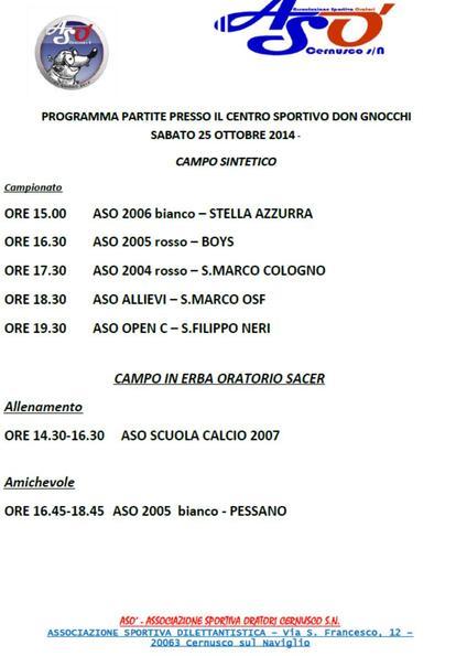 25 ottobre:programma calcio a 7