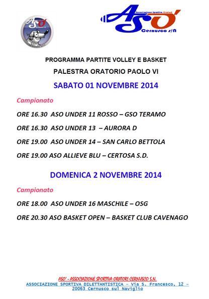Volley e baket: 1 e 2 novembre…