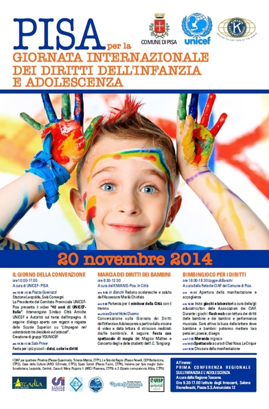 PISA per la giornata mondiale dei diritti dell'infanzia e dell'adoloscenza
