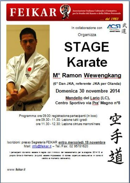 Stage KARATE a Mandello del Lario (LC) 2014 nov 30