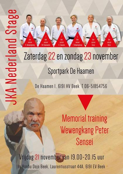 Stage KARATE JKA in Olanda (Memorial M° Peter Wewengkang)