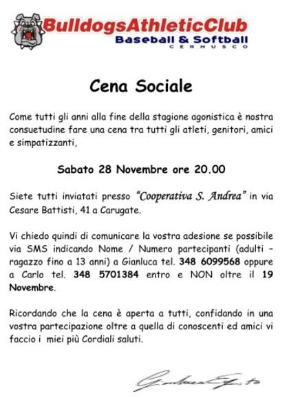 CENA SOCIALE 2015