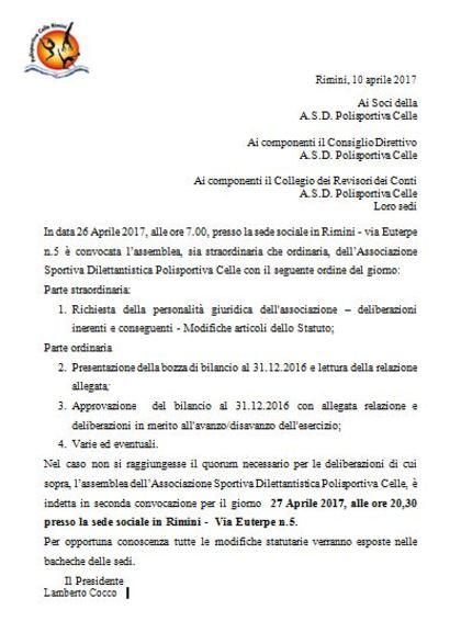 Assemblea ordinaria e straordinaria A.S.D. Polisportiva Celle