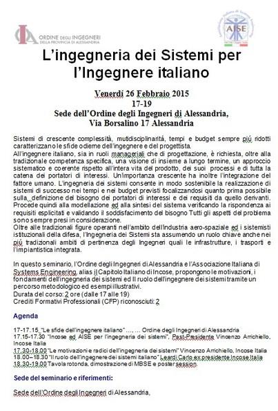 Ruolo e figura dell Ingegnere dei Sistemi Italiano