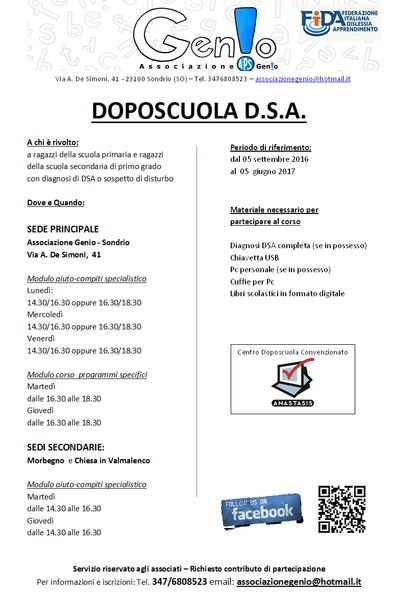 DOPOSCUOLA DSA