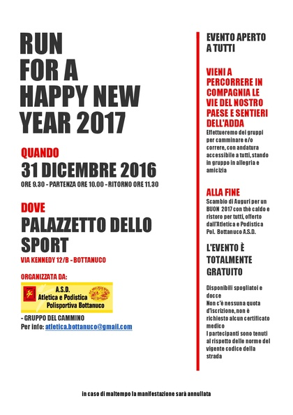 RUN  FOR A HAPPY NEW YEAR 2017