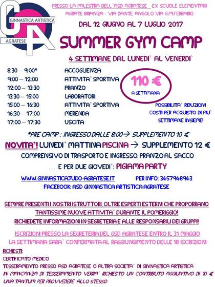 SUMMER GYM CAMP 2017