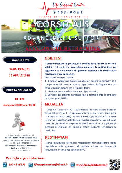 Corso ALS retraining - Advanced Life Support