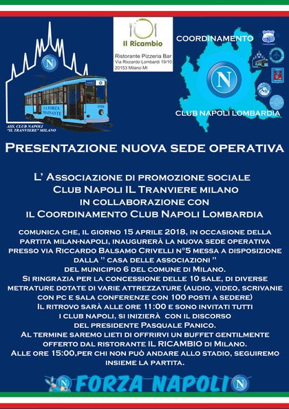 inaugurazione nuova sede operativa A.P.S. Club Napoli IL Tranviere Milano