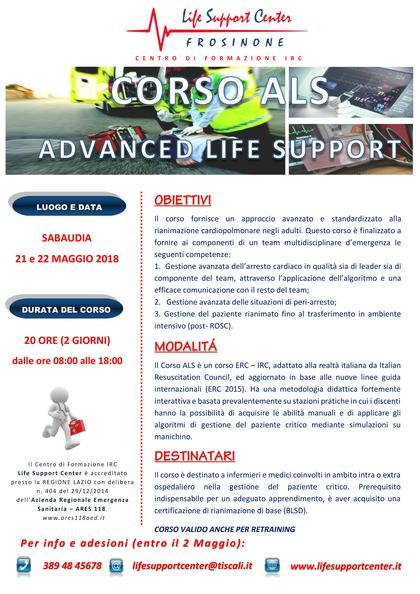 Corso ALS - Advanced Life Support IRC