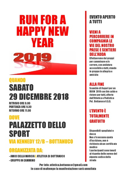 RUN FOR A HAPPY NEW YEAR 2019