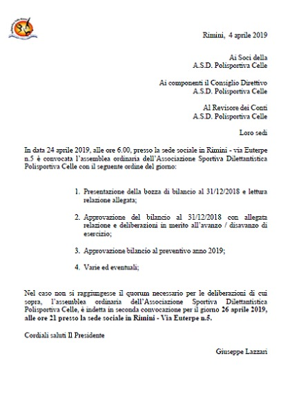 Assemblea Ordinaria A.S.D. Polisportiva Celle