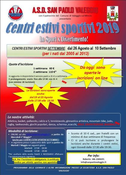 Centri Estivi Sportivi Settembre 2019