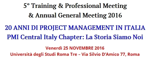 "20 anni di Project Management in Italia"" ANNUAL GENERAL MEETING"