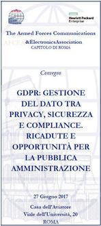 GDPR - GESTIONE DEL DATO TRA PRIVACY, SICUREZZA E COMPLIANCE. RICADUTE E OPPORTUNITÀ PER LA PUBBLICA AMMINISTRAZIONE
