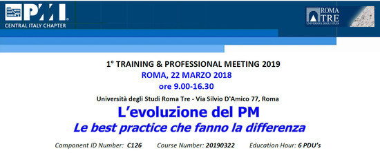 PMI 1° TRAINING & PROFESSIONAL MEETING 2019