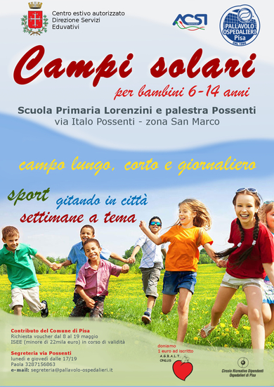 Proroga iscrizioni campi solari per voucher Comune di Pisa