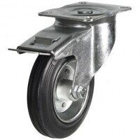 100DR4BSBSWB 100mm Black Rubber Steel Centre Castor - Braked