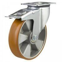 100DR4PTABJSWB 100mm Medium Duty Polyurethane On Aluminium Centre Braked Castor